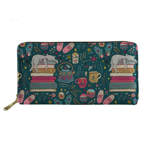 Hygge Cat Lover Zip Around Purse - Kläder and Hem
