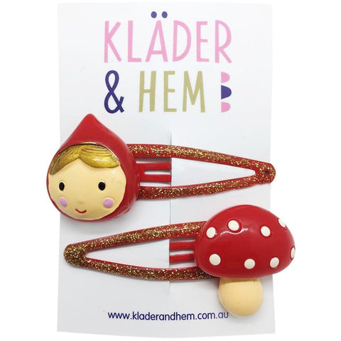 Swedish Red Riding Hood Hair Clips