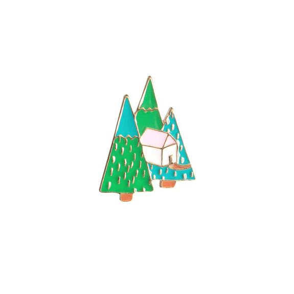 Swedish Cottage Enamel Pin - Kläder and Hem
