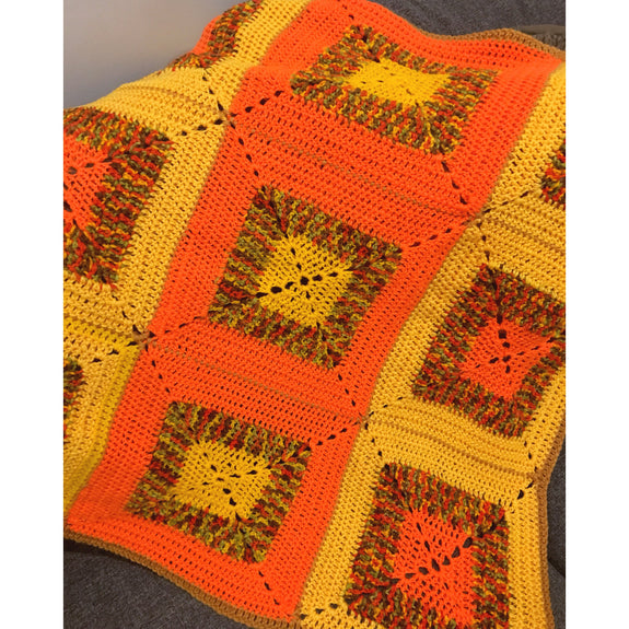Orange & Ochre 70s Square Crochet Blanket - Kläder and Hem