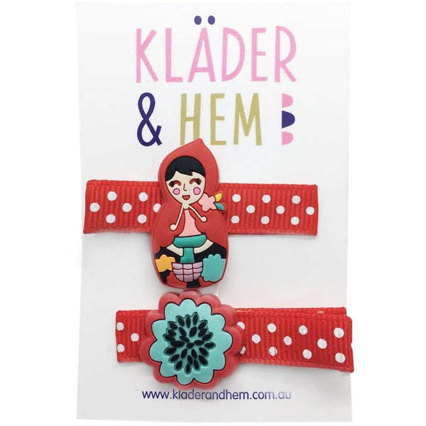 Floral Red Riding Hood Hair Slides - Kläder and Hem