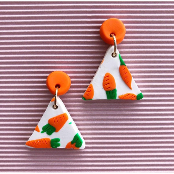 Carrots for Cancer Large Triangle Earrings - Kläder and Hem