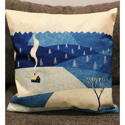 Swedish Cottage at Night Cushion Cover