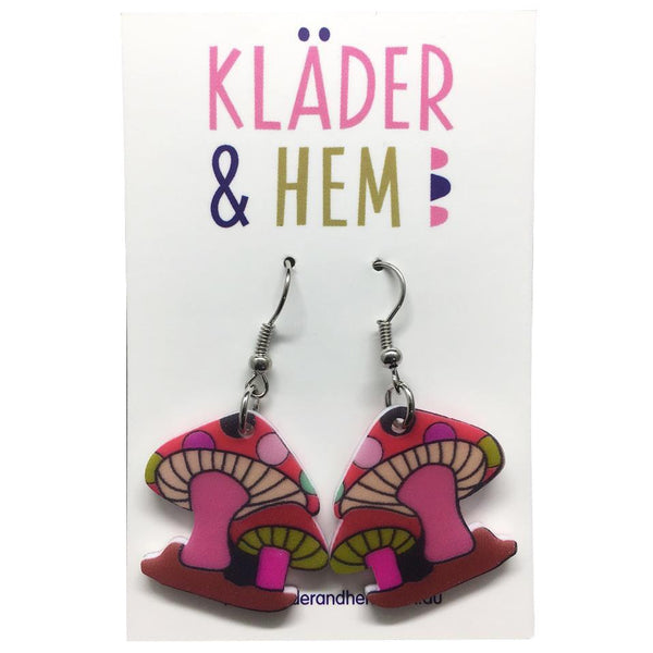 Polkadot Toadstool Earrings Hot Pink - Kläder and Hem