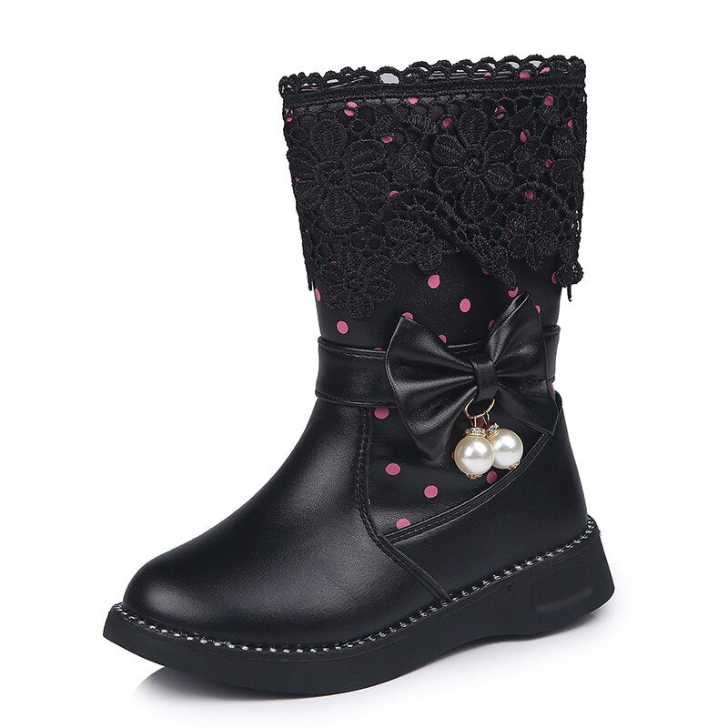 Bottines nœud papillon perle noir