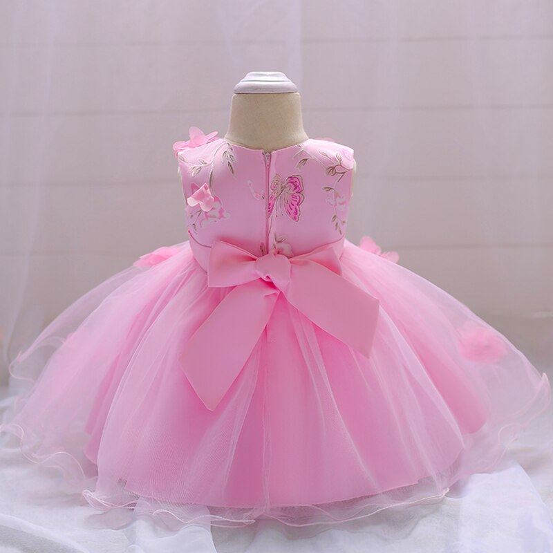 robe rose de bébé fille en mousseline