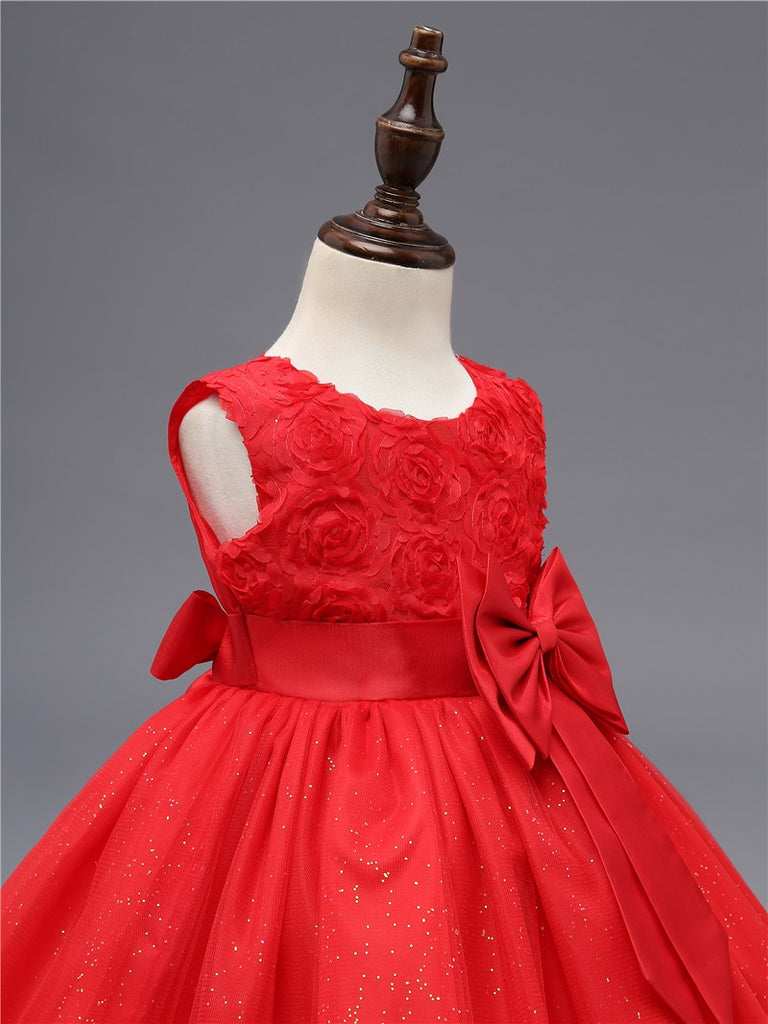 robe rouge fleurie