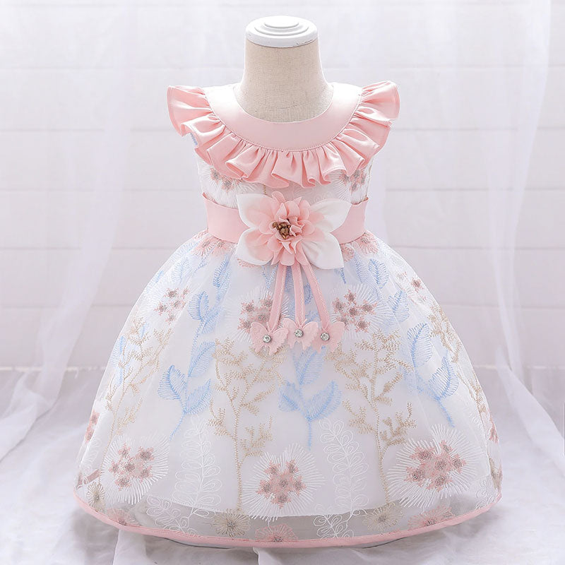 robe bébé princesse encolure rose