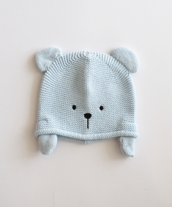 Blue Knitted Teddy Hat