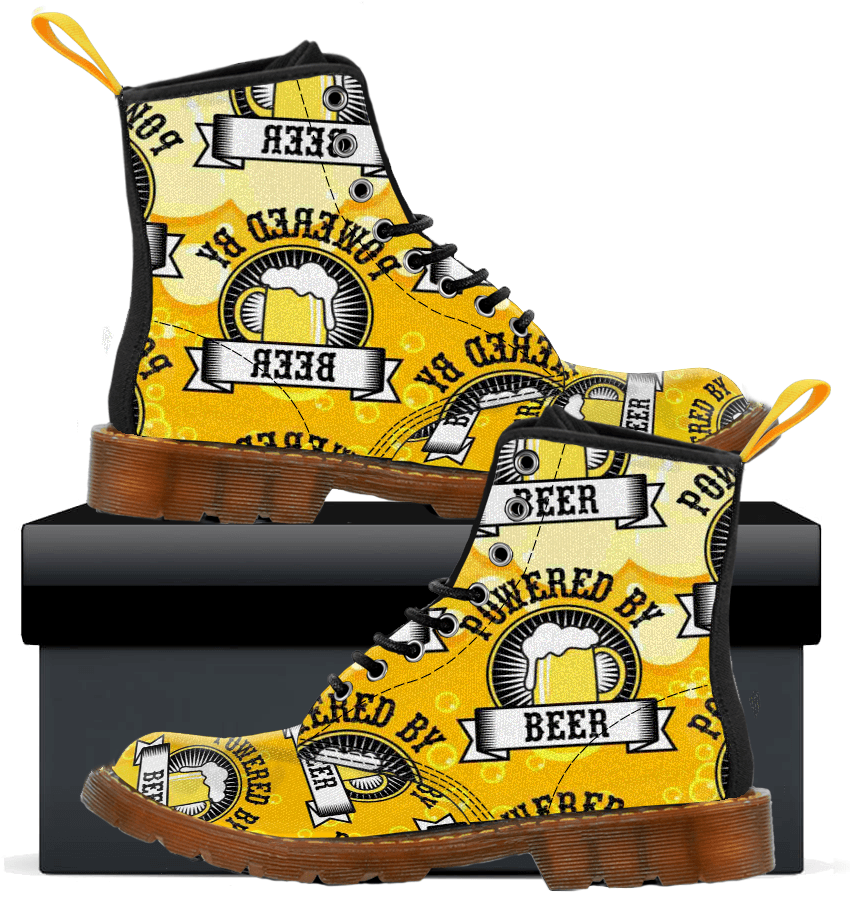 Powered By Beer - Kids Canvas Boots - AvailableGift.com