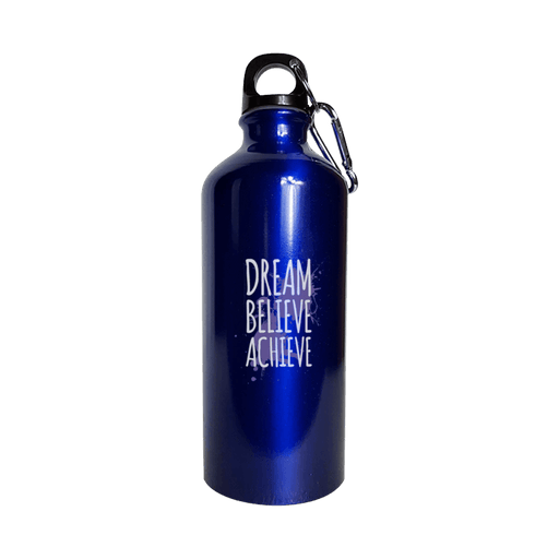 Dream Believe Achieve - Water Bottle Metallic Blue - AvailableGift.com