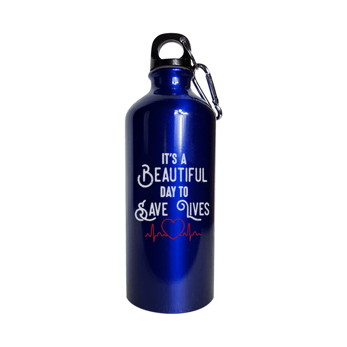 It's A Beautiful Day To Save Lives - Water Bottle Metallic Blue - AvailableGift.com