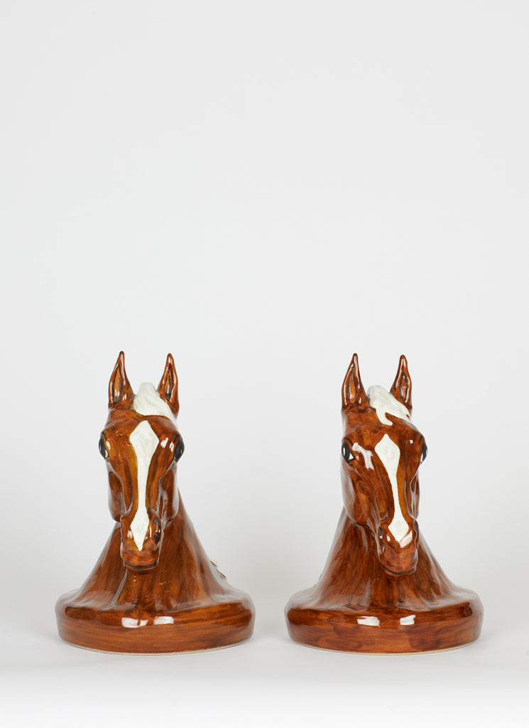 Midcentury Ceramic Horse Bookends