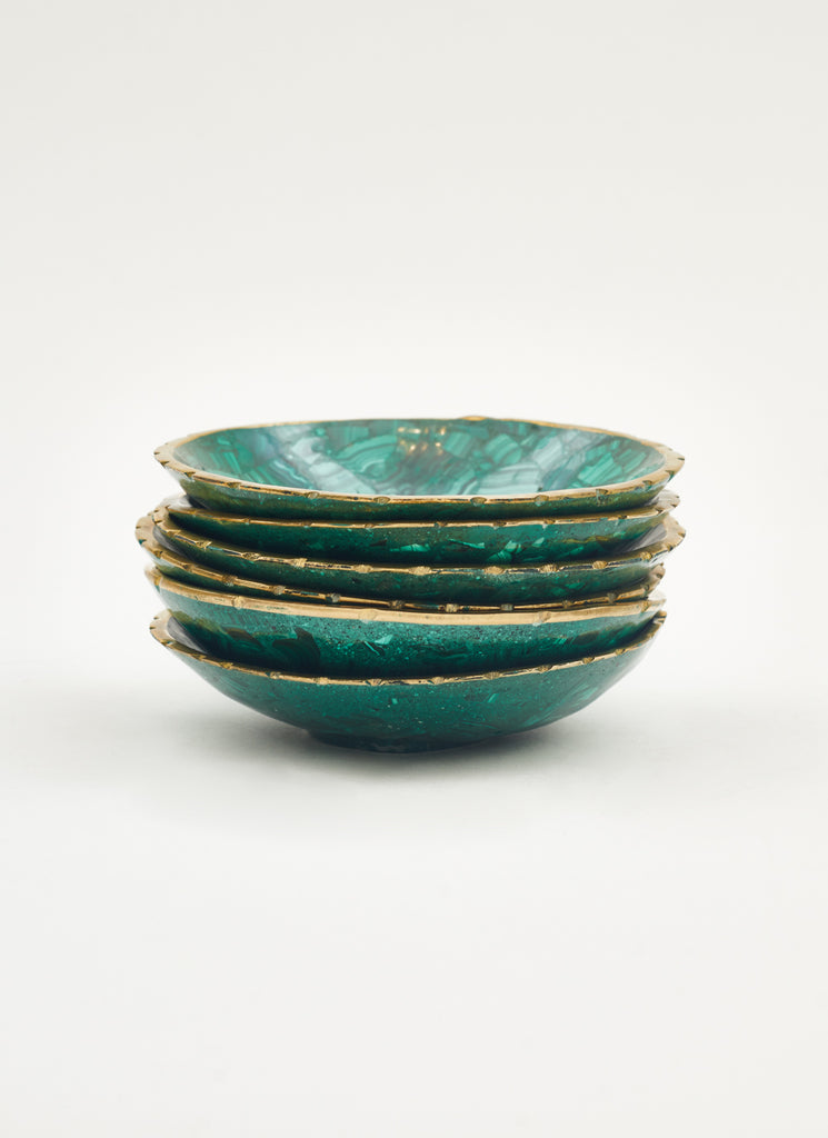 Malachite Bowls with Brass Edges, Set of 6