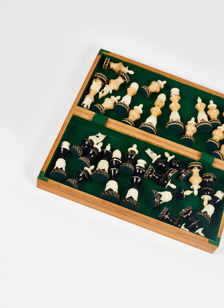 1950's Carved Wood & Bone Chess Set