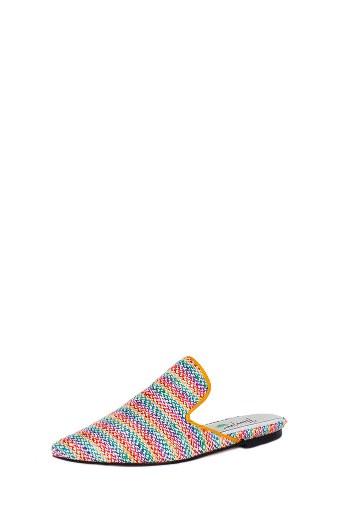 Silk Rainbow Woven Slide with Square Upper