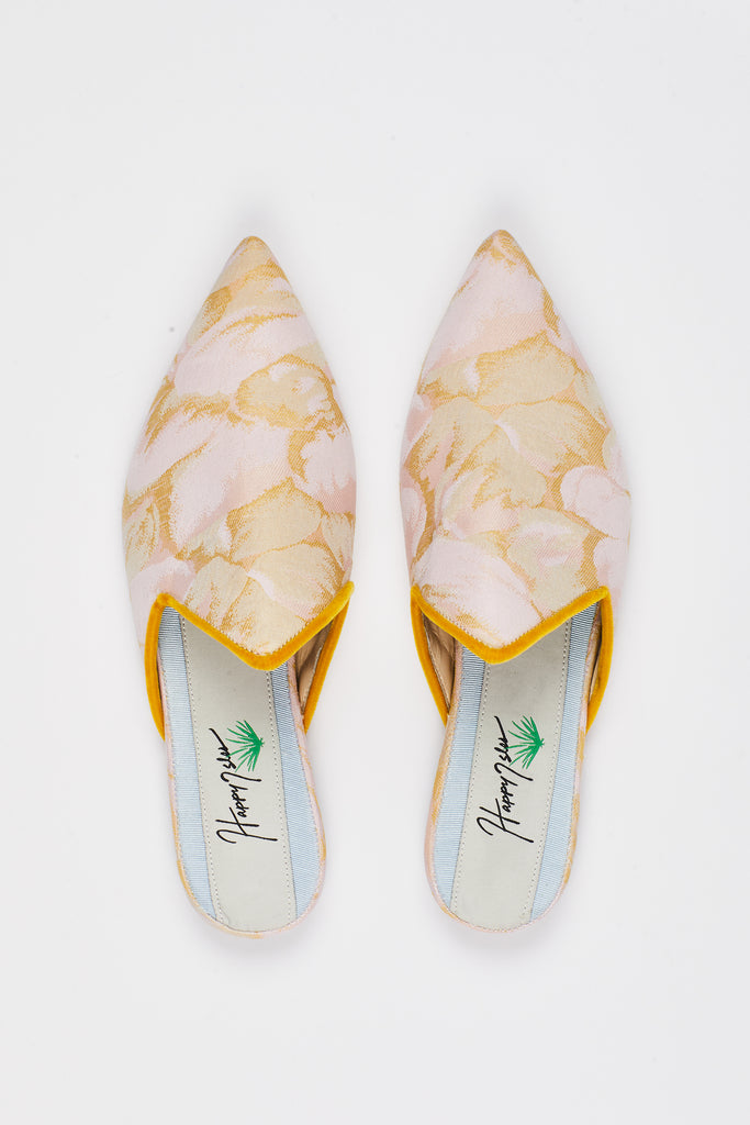 Silk Floral Slide with Pointed Velvet Trimmed Upper