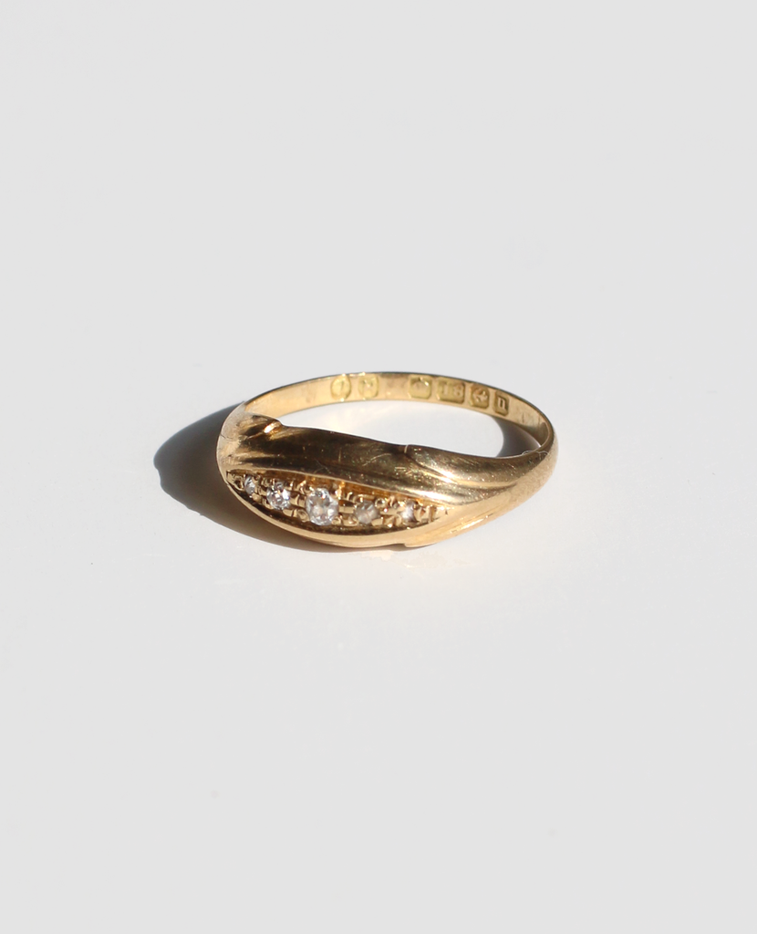 18k 5 Diamond Gypsy Boat Ring