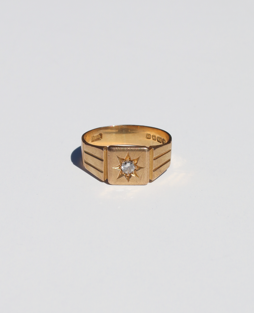 18k Gypsy Starburst Diamond Signet Ring