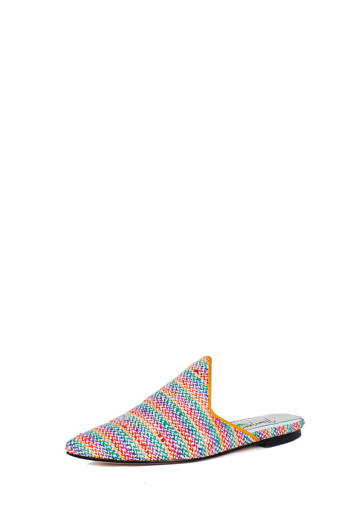 Silk Rainbow Woven Slide with Pointed Upper