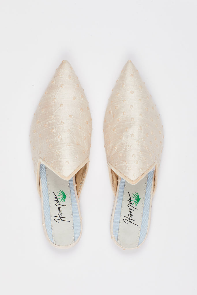 Silk Pearl Slide with Pointed Velvet Trimmed Upper
