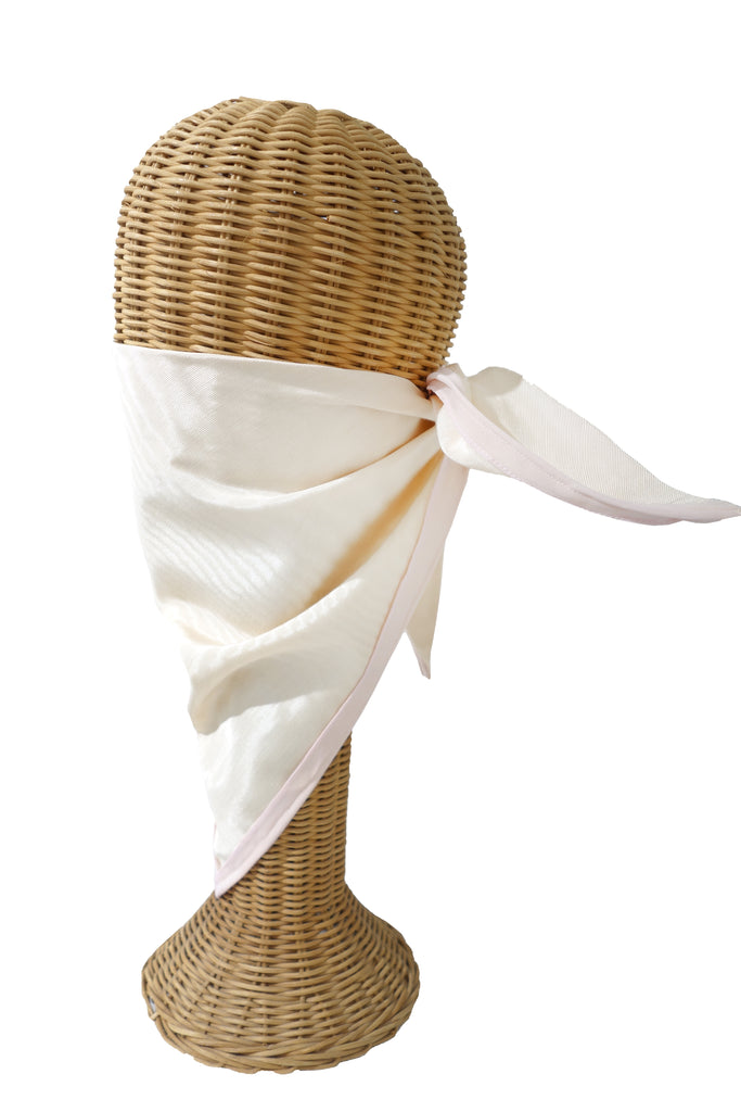 Cream Moire with Pink Trim Triangular Mask/Head Scarf