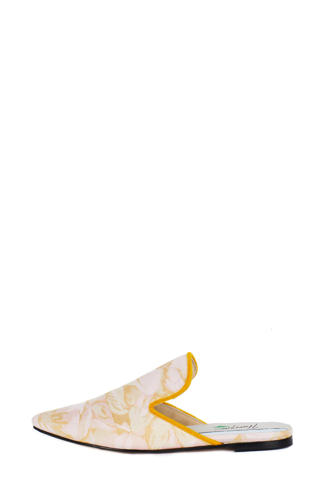 Silk Floral Slide with Square Velvet Trimmed Upper