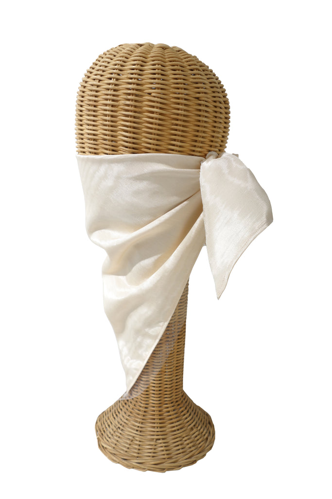 Cream Moire with Tulle Trim Triangular Mask/Head Scarf