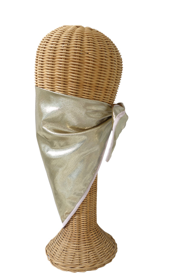 Gold Lamé with Pink Trim Triangular Mask/Head Scarf