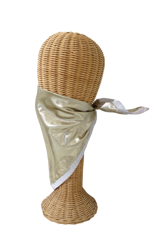 Gold Lamé with Lilac Trim Triangular Mask/Head Scarf