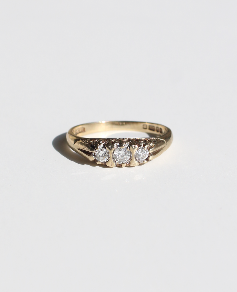 9k Gypsy Set Diamond Boat Ring
