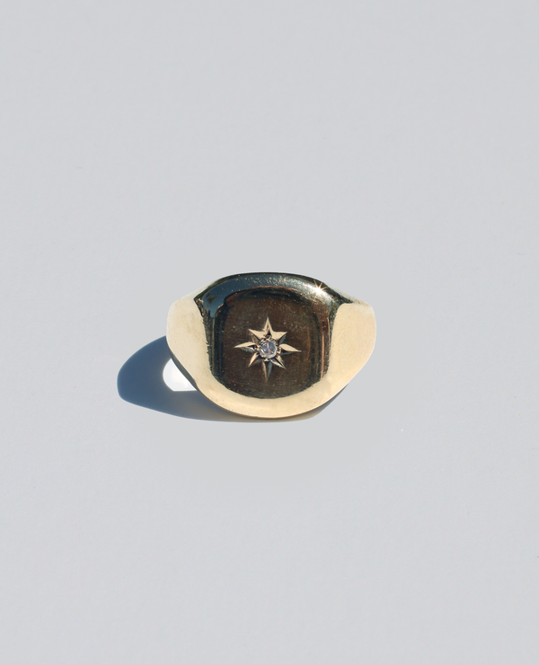 9k Gypsy Starburst Diamond Signet Ring