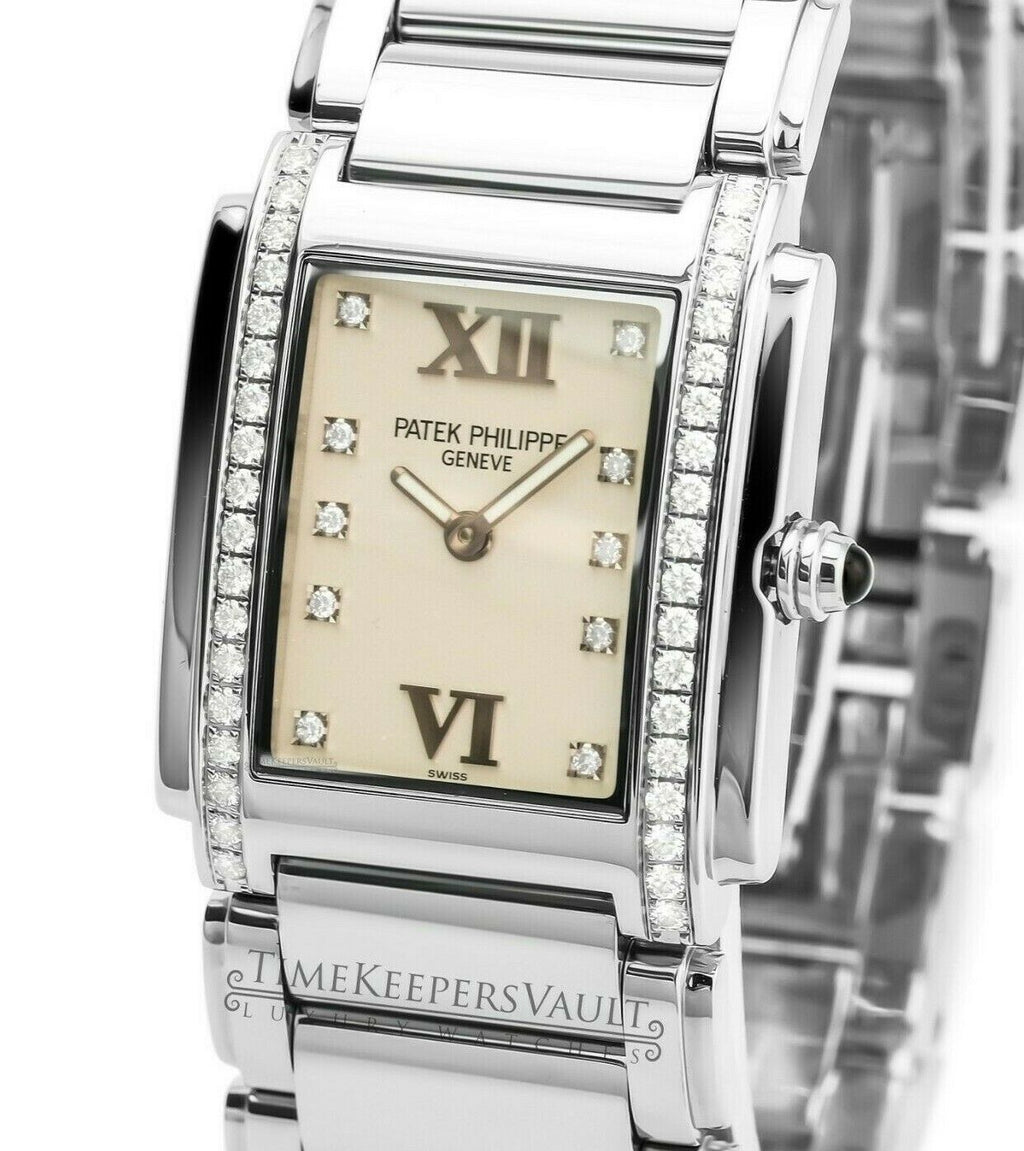 Factory Patek Philippe Twenty-4 4910 Ladies Stainless Steel 25X30mm - Time Keepers Vault