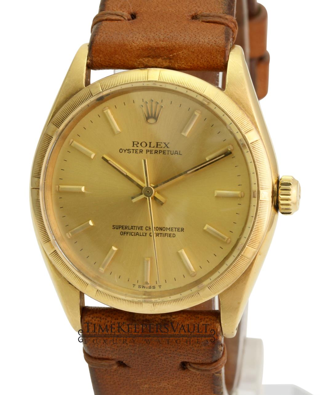 Vintage Rolex Watch Men's Oyster Perpetual1005 14k Yellow Gold Turn-o-Graph 34mm - Time Keepers Vault