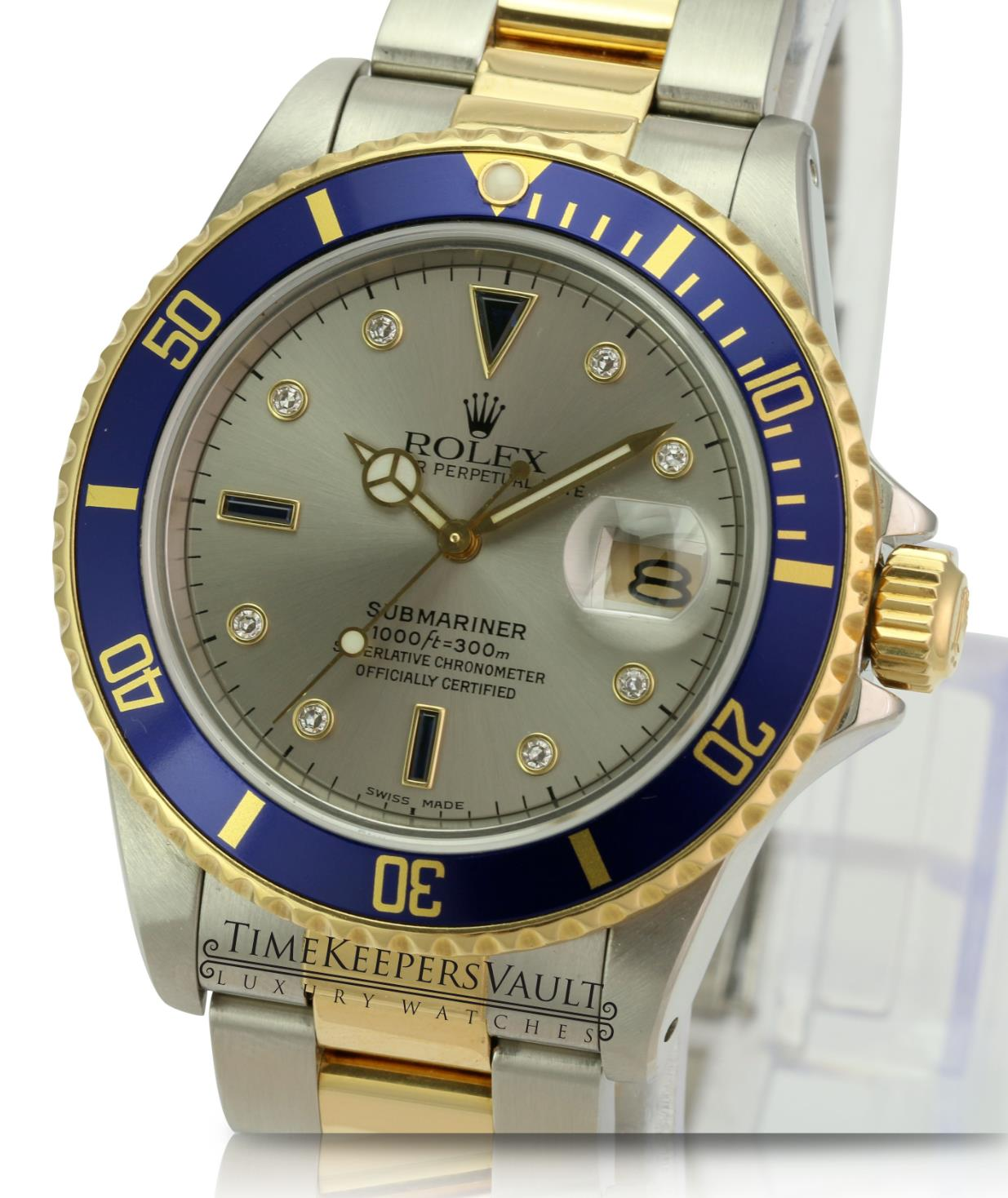 Factory Rolex  Men's 40mm Submariner 16613 18K Gold & Steel Silver Serti Dial - Time Keepers Vault
