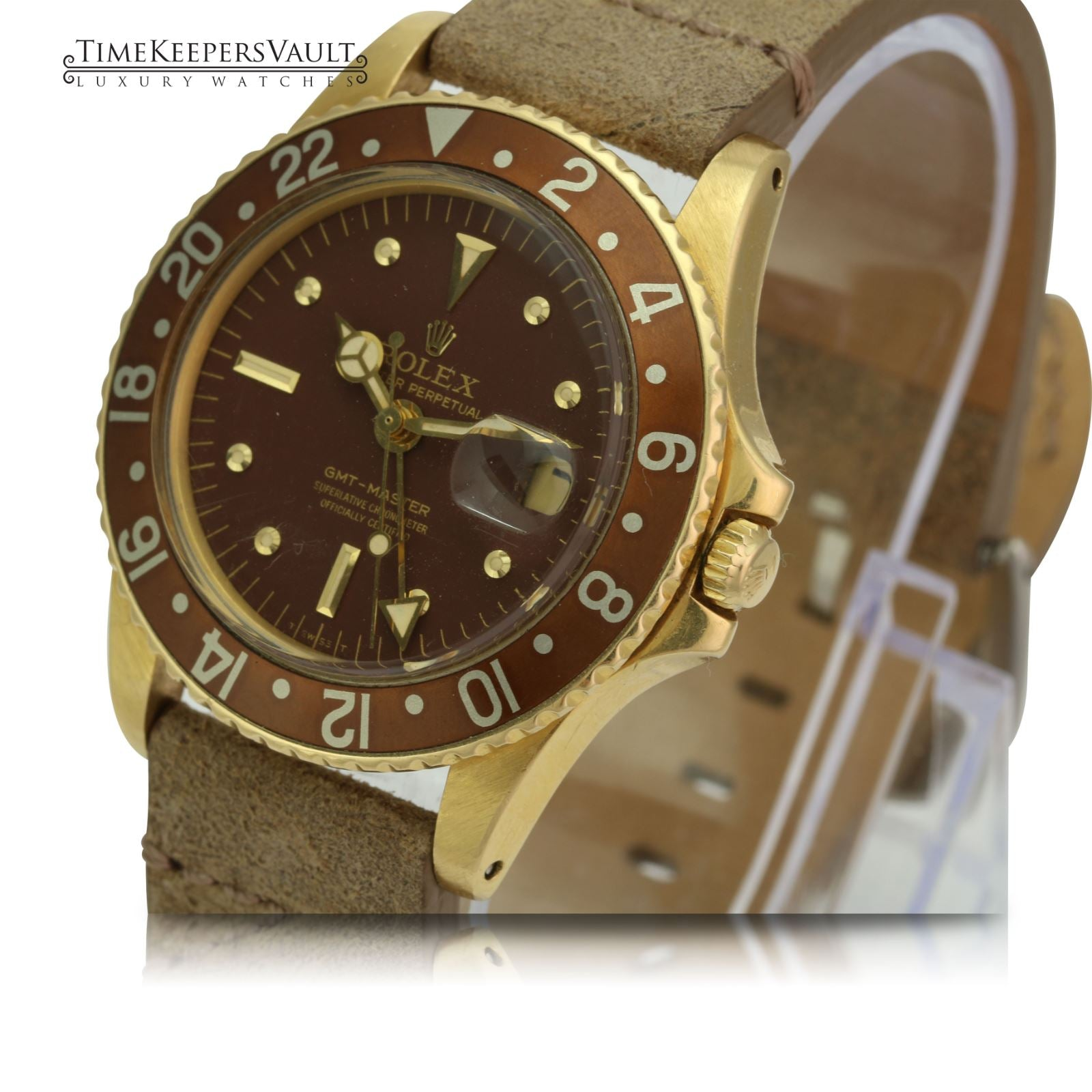 Rolex Vintage GMT-Master 1675 18k Yellow Gold Root beer Brown Nipple Dial Watch - Time Keepers Vault