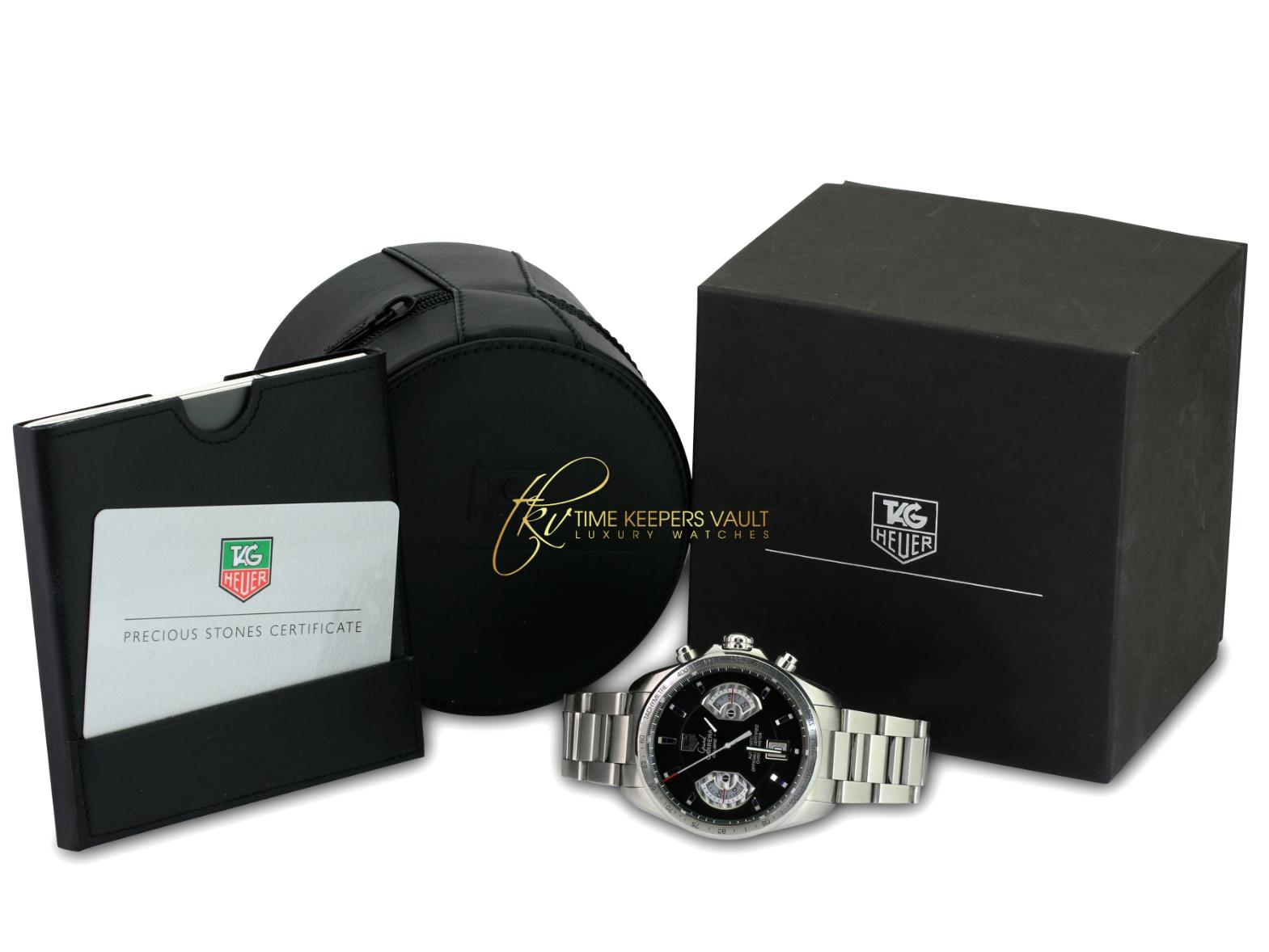 Tag Heuer Men's Carrera Automatic CAV511A Steel Black Dial 41mm-Mint Condition - Time Keepers Vault