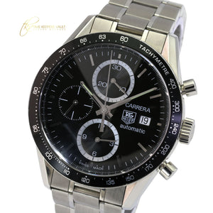 Tag Heuer Men's Carrera  Automatic CV2010-4 Stainless Steel Black Dial 41mm-Mint - Time Keepers Vault