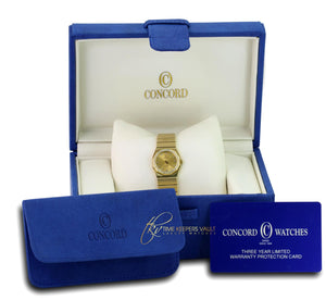 Concord Ladies Solid 14K Yellow Gold Champagne Diamond Dial Diamond Bezel 23mm - Time Keepers Vault