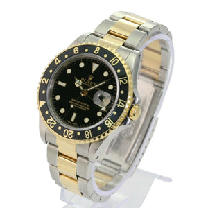 Rolex Mens GMT-Master II 16713 Gold and Steel Black Dial Oyster Band 40mm Watch - Time Keepers Vault