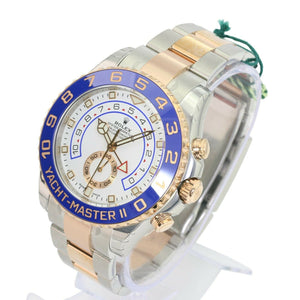 Rolex Watch Yacht-Master II 116681 White & BLue Dial 18k Rose Gold & Steel  44mm - Time Keepers Vault