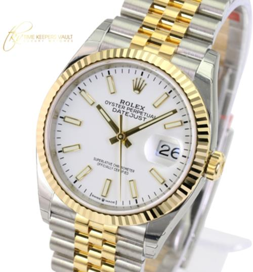 Unworn Rolex Factory Men's 36mm Datejust 126233 Steel & 18K Gold White Index Dial Watch -Unworn - Time Keepers Vault