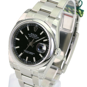 Rolex Steel Mens Datejust 116200 Watch Black Index Dial 36mm Oyster Band-UNWORN - Time Keepers Vault