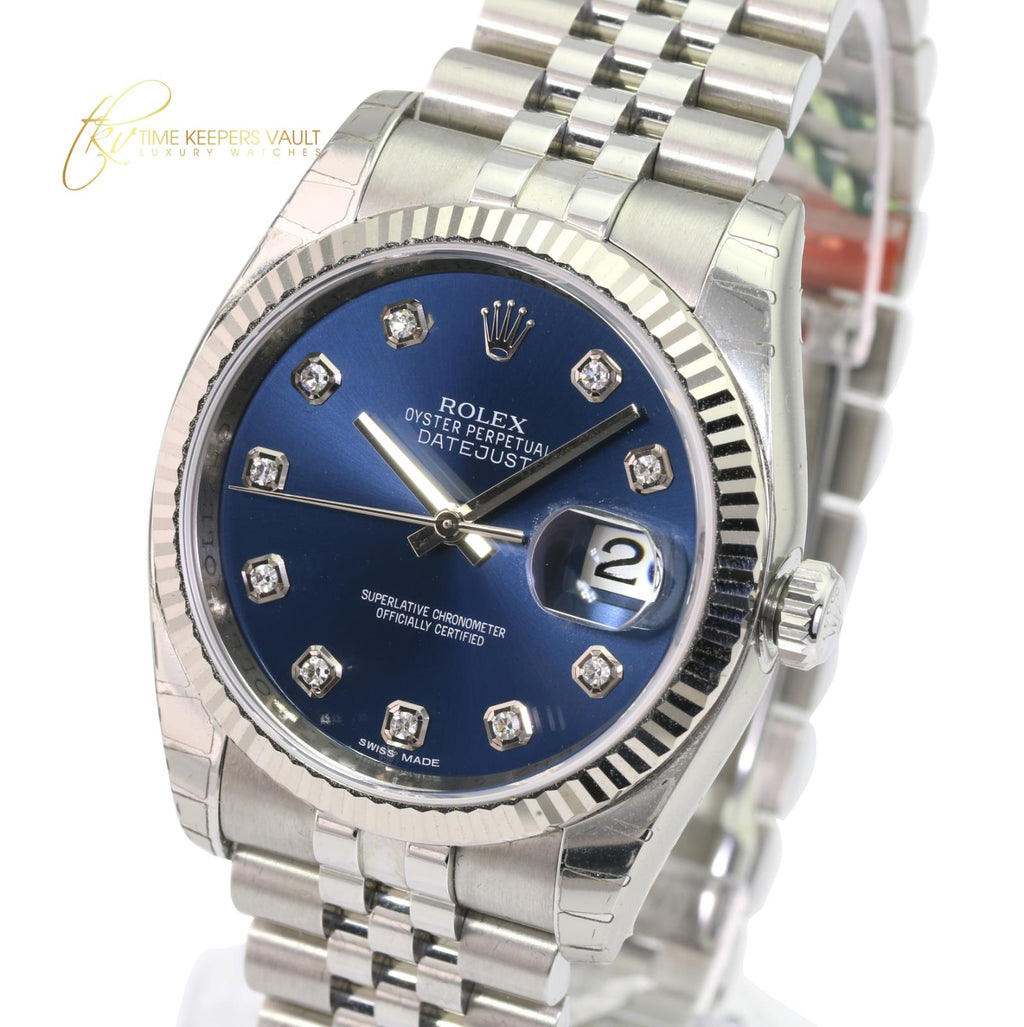 Rolex Factory Datejust 116234 Blue Diamond Dial Fluted Bezel -Unworn With Box & Papers - Time Keepers Vault