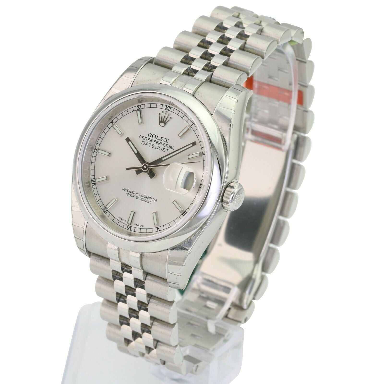 Unworn Rolex Factory Datejust Stainless Steel 116200 Silver Index Dial Smooth Bezel 36mm - Time Keepers Vault