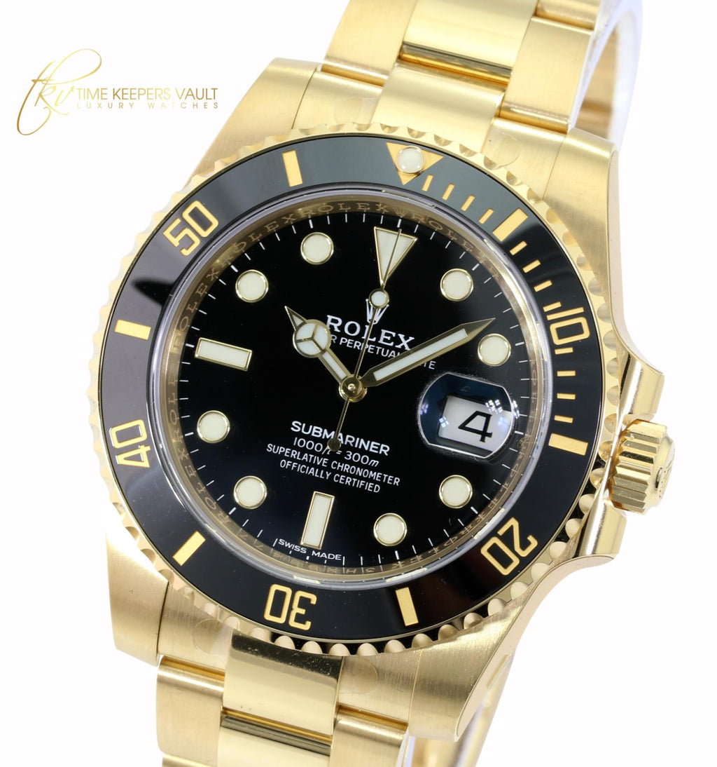 Rolex Men's Watch 40mm Submariner 116618 LN 18k Yellow Gold Black Dial -Unworn - Time Keepers Vault