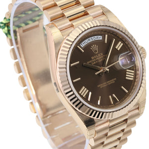 Unworn Rolex Factory Men's 40mm Day-Date 228235 18K Rose Gold Brown Roman Numeral Dial-UNWORN - Time Keepers Vault