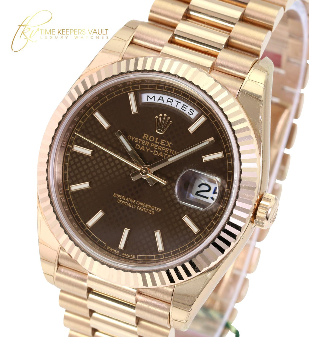 Rolex Watch Men's Day-Date 228235 18K Rose Gold 40mm Brown Motif Index Dial-NEW - Time Keepers Vault