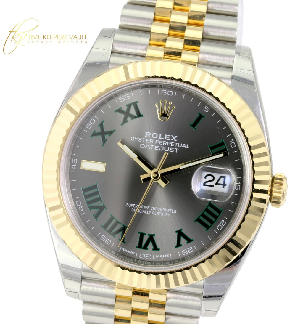 Unworn Factory Rolex Men's Datejust 126333 Two-Tone Slate Gray Dial Green Roman Numerals - Time Keepers Vault