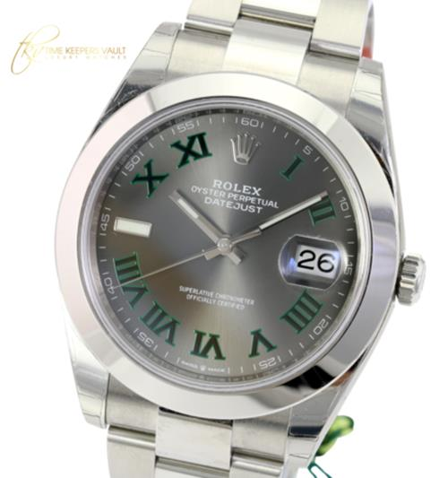Unworn Rolex Factory Men's 41mm Datejust 126300  Steel Slate Grey Dial w Roman Numeral-UNWORN - Time Keepers Vault